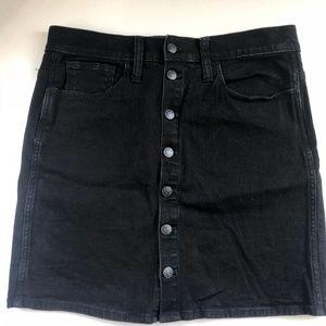 Madewell Button-Up Mini Black Denim Skirt
